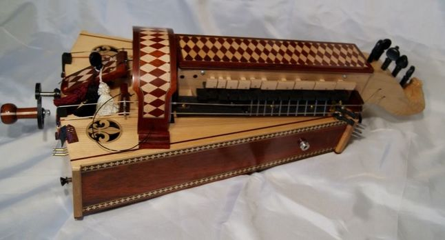 hurdy gurdy with fretboard