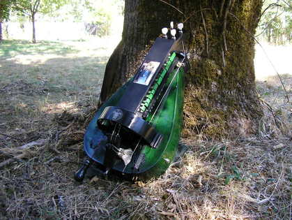 Green Hurdy Gurdy with tarot art